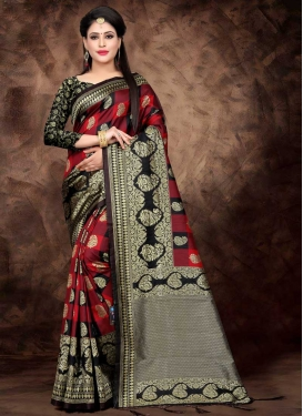 Thread Work Black and Red Designer Contemporary Saree