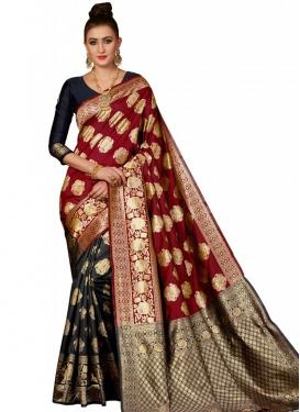 Thread Work Black and Red Half N Half Designer Saree
