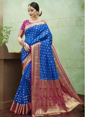 Thread Work Blue and Fuchsia Contemporary Style Saree