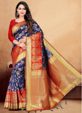 Thread Work Blue and Red Designer Contemporary Style Saree