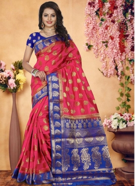 Thread Work Blue and Rose Pink Classic Saree
