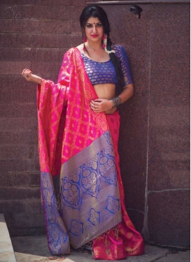 Thread Work Blue and Rose Pink Contemporary Style Saree