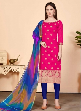 Thread Work Blue and Rose Pink Cotton Trendy Churidar Salwar Kameez