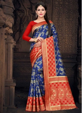 Thread Work Blue and Tomato Traditional Designer Saree