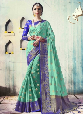 Thread Work Blue and Turquoise Traditional Saree