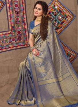 Thread Work Brocade Contemporary Style Saree For Festival