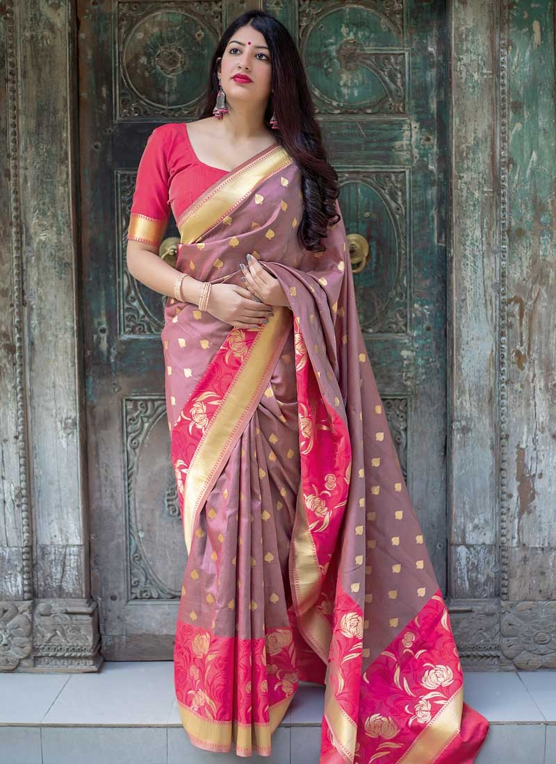 Thread Work Brown and Rose Pink Trendy Saree