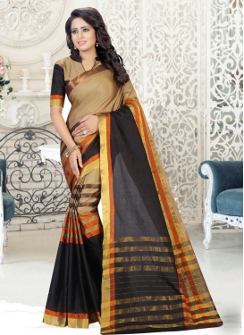 Thread Work Cotton Silk Beige and Black Traditional Saree