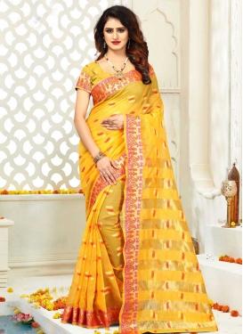 Thread Work Cotton Silk Designer Contemporary Saree For Casual