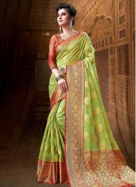 Thread Work Cotton Silk Designer Traditional Saree For Ceremonial