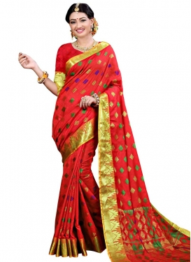 Thread Work Cotton Silk Traditional Designer Saree