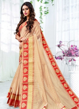 Thread Work Cream and Red Designer Traditional Saree