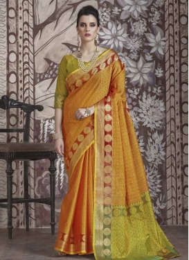 Thread Work Gold and Mint Green Contemporary Style Saree