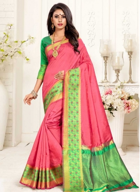 Thread Work Green and Hot Pink Designer Contemporary Saree