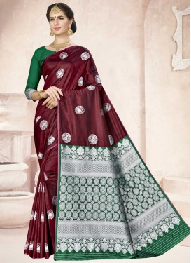 Thread Work Green and Maroon Traditional Saree