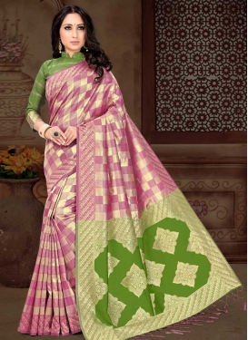 Thread Work Green and Pink Trendy Classic Saree