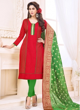 Thread Work Green and Red Cotton Trendy Churidar Suit