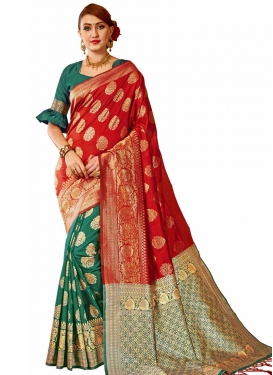 Thread Work Green and Red Half N Half Designer Saree