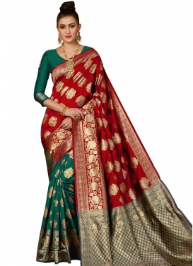 Thread Work Green and Red Half N Half Trendy Saree