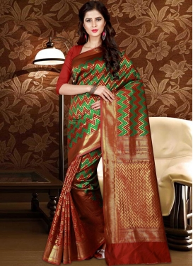 Thread Work Green and Red Trendy Saree