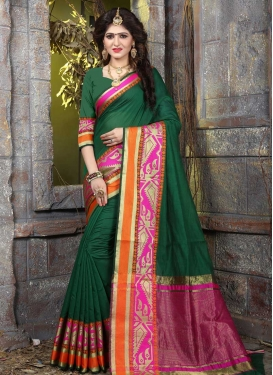 Thread Work Green and Rose Pink Contemporary Style Saree