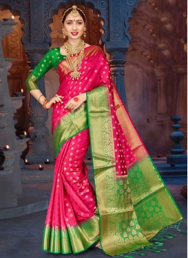 Thread Work Green and Rose Pink Designer Contemporary Saree
