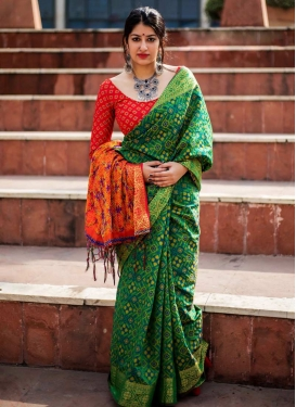 Thread Work Green and Tomato Trendy Saree