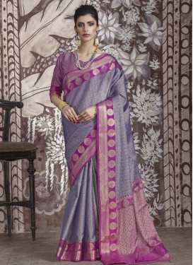 Thread Work Grey and Magenta Trendy Classic Saree