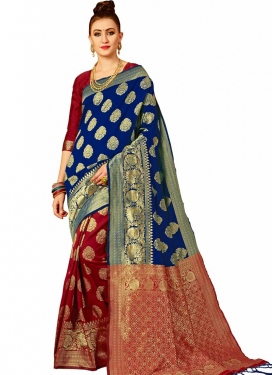 Thread Work Half N Half Trendy Saree