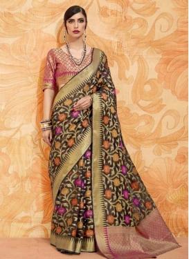 Thread Work Handloom Silk Black and Rose Pink Classic Saree