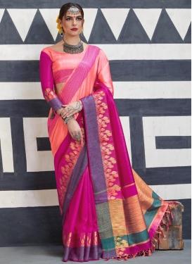Thread Work Handloom Silk Contemporary Saree