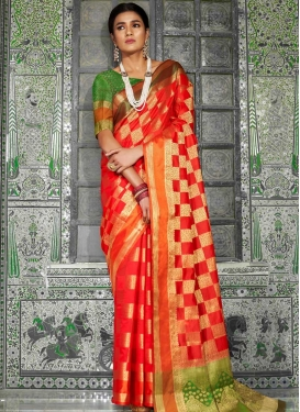Thread Work Handloom Silk Green and Red Trendy Saree