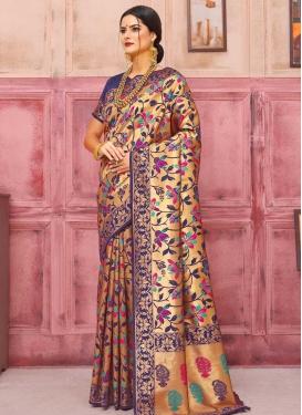 Thread Work Handloom Silk Traditional Designer Saree For Ceremonial