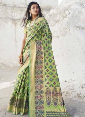 Thread Work Handloom Silk Trendy Saree For Festival