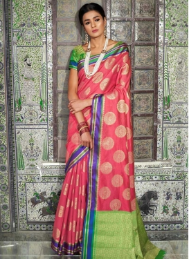 Thread Work Hot Pink and Mint Green Designer Contemporary Saree