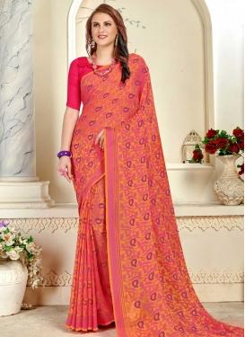 Thread Work Hot Pink and Orange Designer Contemporary Style Saree