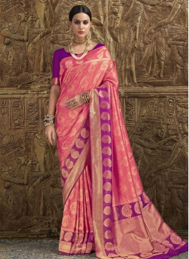Thread Work Hot Pink and Violet Designer Contemporary Saree