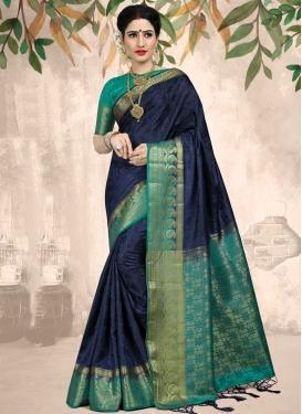 Thread Work Jacquard Silk Aqua Blue and Navy Blue Classic Saree