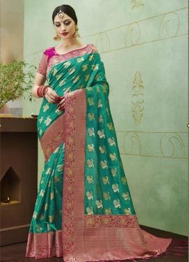 Thread Work Jacquard Silk Contemporary Saree