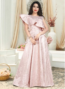 Thread Work Jacquard Silk Layered Designer Gown