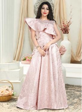 Thread Work Jacquard Silk Layered Designer Gown