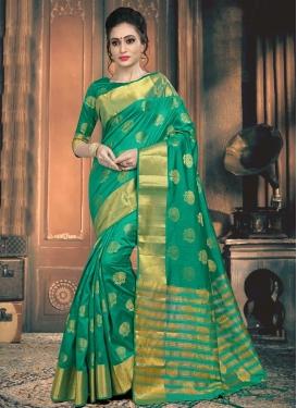 Thread Work Jacquard Silk Trendy Saree