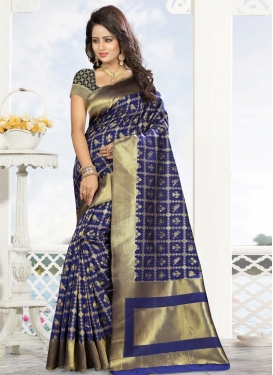 Thread Work Kanjivaram Silk Contemporary Saree