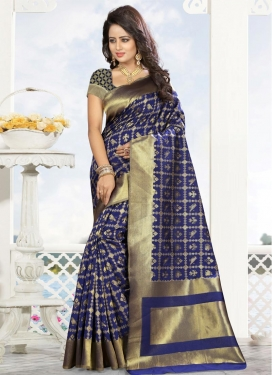 Thread Work  Kanjivaram Silk Contemporary Style Saree