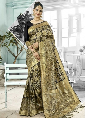 Thread Work Kanjivaram Silk Traditional Designer Saree