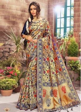 Thread Work Kanjivaram Silk Traditional Designer Saree