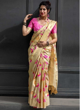 Thread Work Kanjivaram Silk Trendy Classic Saree