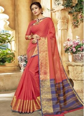 Thread Work Khadi Silk Contemporary Style Saree For Casual