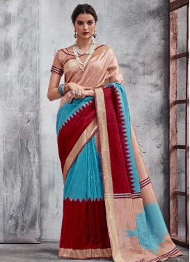 Thread Work Light Blue and Maroon Trendy Classic Saree