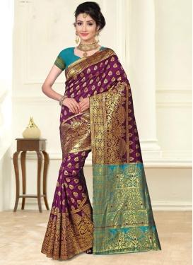 Thread Work Light Blue and Purple Trendy Classic Saree